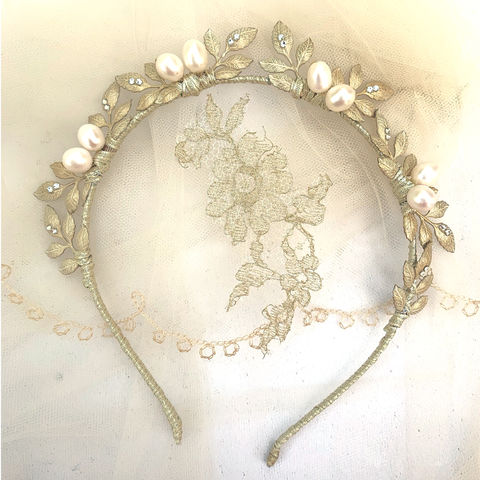 Enchant,Bridal,Crown,enchant bridal headdress,  leaf crown, Surrey wedding accessories, oversized freshwater pearl headdress, Surrey bridal, wedding accessories, bridal shop Surrey, bridal, Swarovski pearls and crystals headdress,  bridal headdress, bridal halo, wedding acces