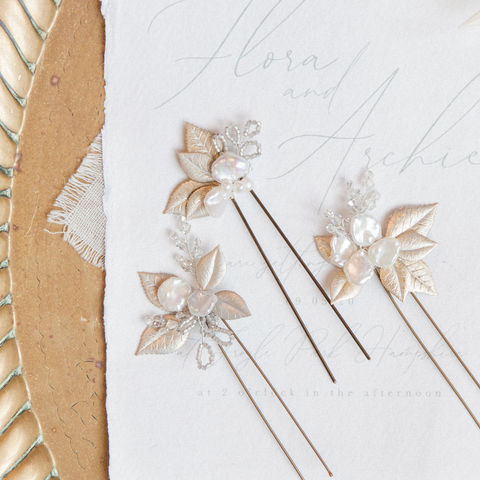 Flora,Pearl,Blooms,-,set,of,3,flora keishi blooms, blossom hair pins, bridal hair pins, bridesmaid pins, wedding pins, wedding accessories, bridal hair accessories, Surrey bridal, donnacrainsurrey