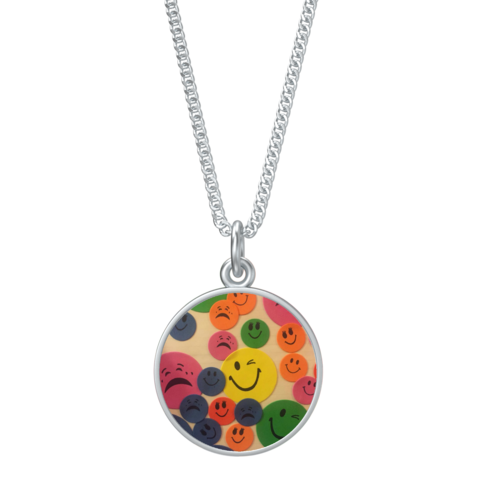 Kaya's,Emojis,Coin,Pendant,With,Kenton,Station,Chain,-,16in,in,silver,SILVER CHAMBER JEWELLERY,PENDANT