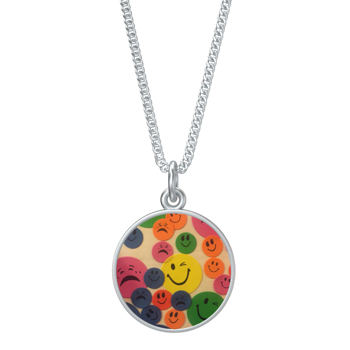 Kaya's Emojis Coin Pendant With Kenton Station Chain - 16in in silver - product image