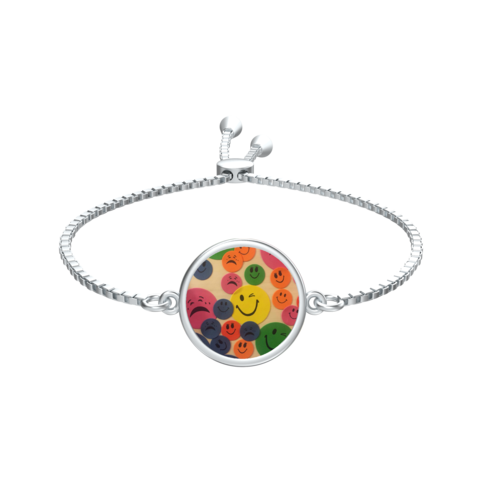 Ashe,Coin,with,Kaya's,Emojis,Slider,Bracelet,in,silver,SILVER CHAMBER JEWELLERY,BRACELET