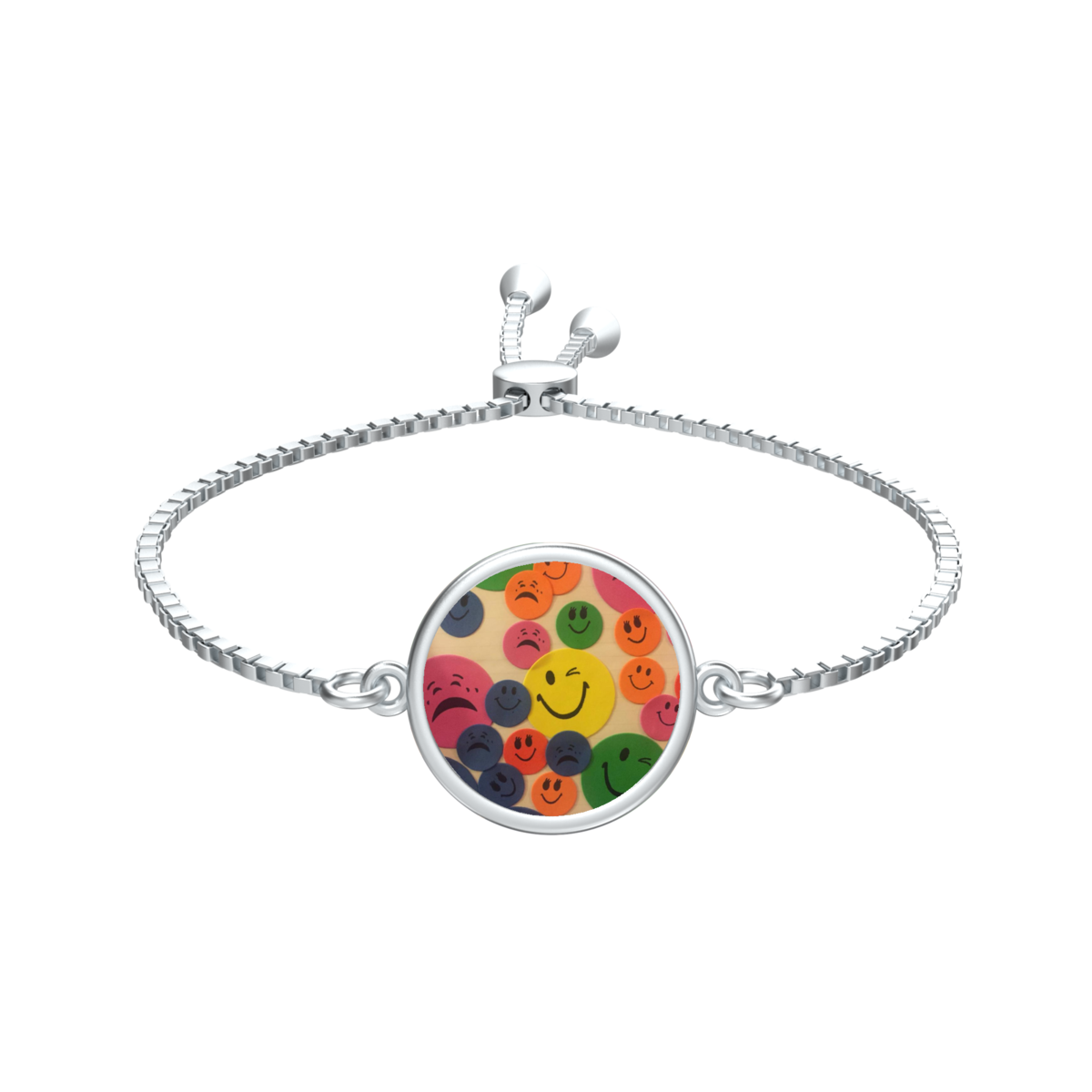 Ashe Coin with Kaya's Emojis Slider Bracelet in silver - product image