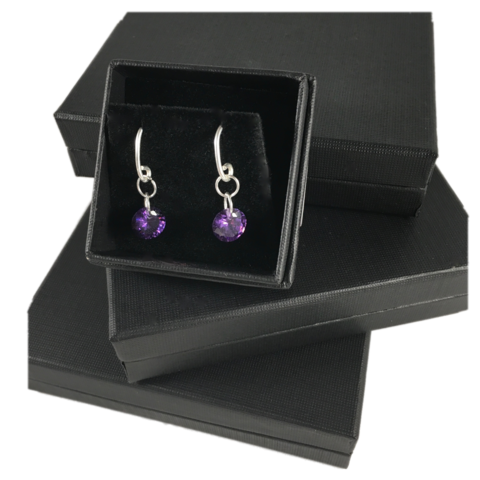 Purple,Crystals,SILVER,DANGLE,EARRINGS,SILVER CHAMBER JEWELLERY