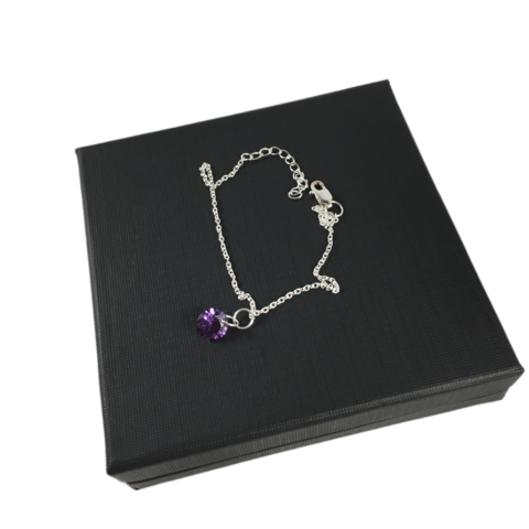 Purple,Crystals,SILVER,CHAIN,BRACELET,SILVER CHAMBER JEWELLERY,bracelet, crystal, purple, Silver