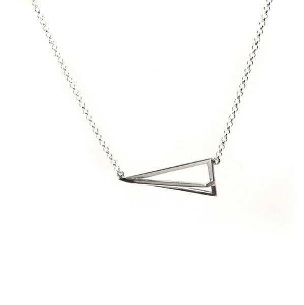 GEOMETRIC PYRAMID SILVER PENDANT NECKLACE - product images  of