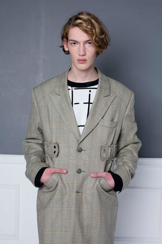 [SPECIAL,OFFER,--,PRE-ORDER],Green,Check,Peaked,Lapel,Coat
