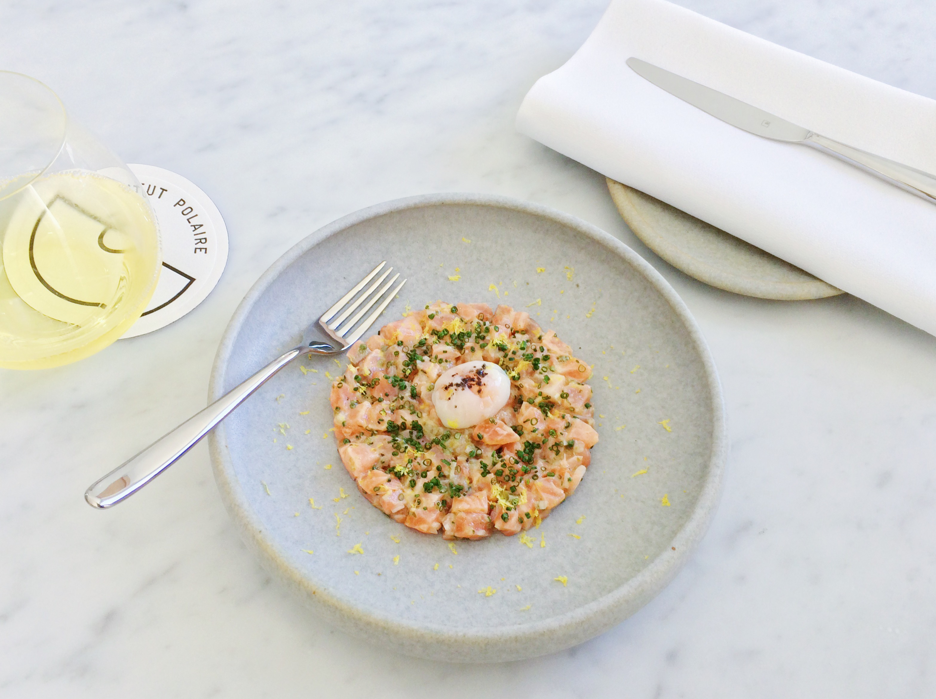 Institut Polaire Salmon Tartare 65 degree quail egg tasmania food