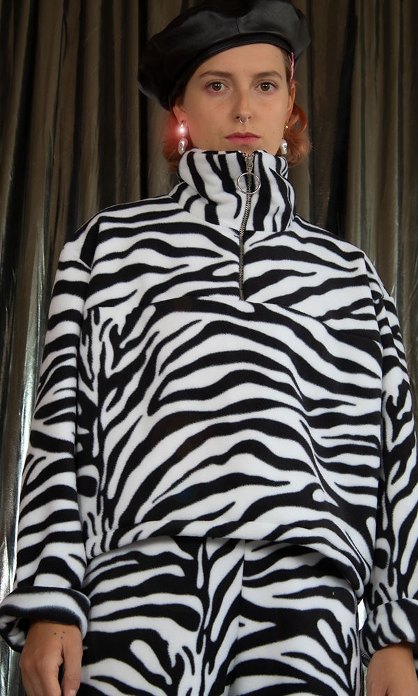 Zebra Black and White 1/4 Zip Fleece  - product images  of