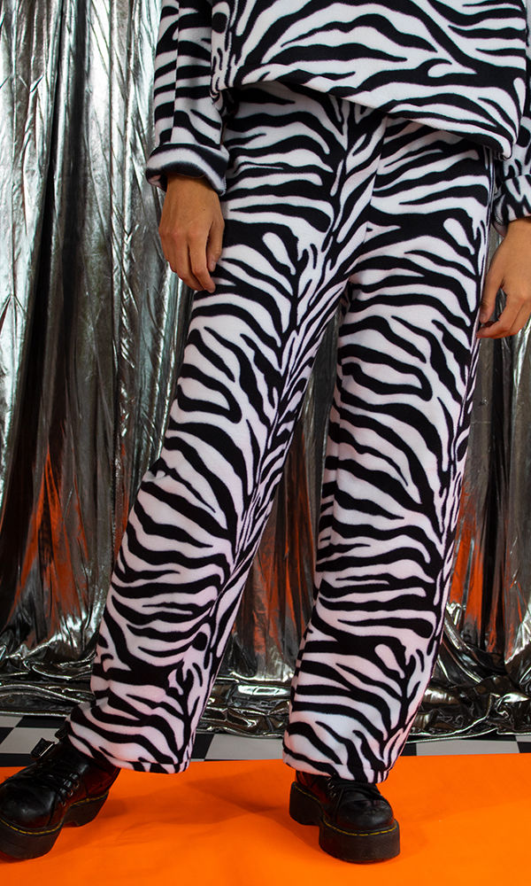 Zebra Fleece Y2K Trousers - product images  of