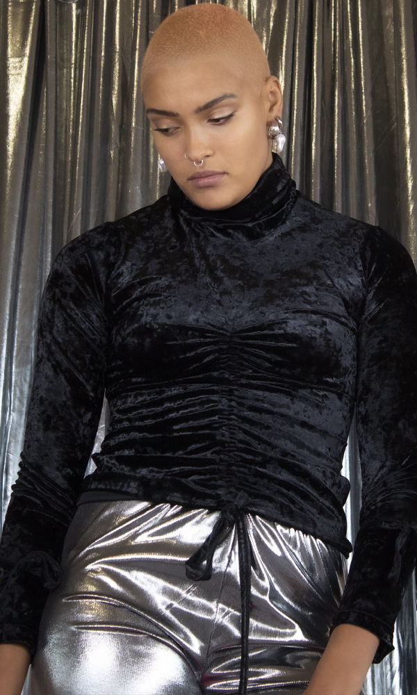 Black Crushed Velvet Ruched Roll Neck Top - product image