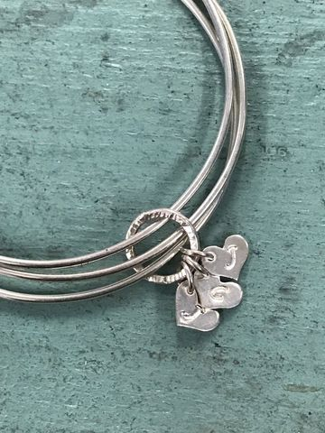 Sterling,Silver,Personalised,Initials,Heart,Charm,Triple,Bangle,Jewelry,Bracelet,cornwall,handmade,customised,gift,Anniversary,Mothers_Day,bridesmaid,wedding,bangle,name,personalised,Jewellery