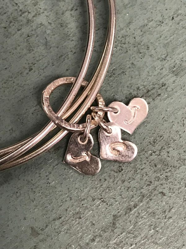 Sterling Silver Personalised Initials Heart Charm Triple Bangle - product images  of
