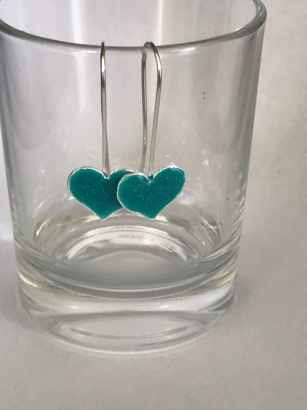 Sterling Silver - Heart - Turquoise Enamelled - Drop Earrings - Silver Heart - product images  of