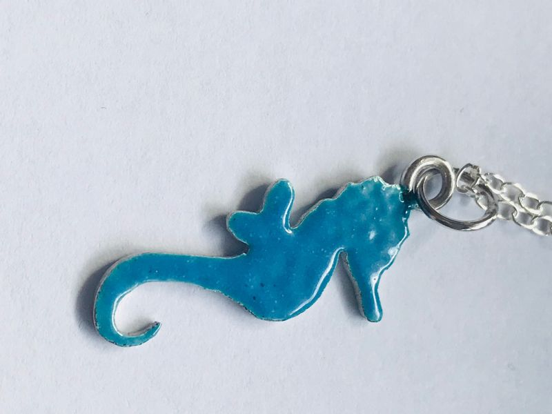 Seahorse Sterling Silver Pendant - Necklace - Enamelled Necklace - Silver Charm - product images  of