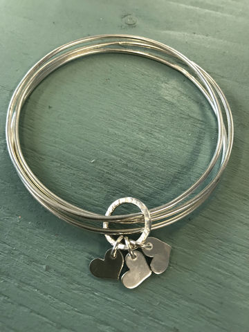 Triple,Heart,Charm,Bangle,Jewelry,Bracelet,heart,charm,charm_bracelet,triple_bangle,Silver
