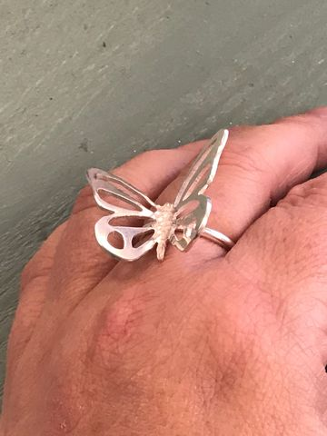 Sterling Silver Butterfly Statement Ring - product images  of