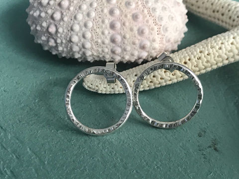 Open,circle,stud,earrings,Jewelry,Earrings,hoop,textured,gift,jewellery,handmade,Sterling_silver