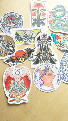 Embellished,Paper,Sticker--,Random,grab,3,piece,pack,paper stickers, street art, hand colored stickers