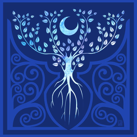 Tree,of,the,Ancestors,ghost tree, spectral tree, phantom tree, night,, night tree, art nouveau