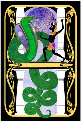 Snake,Charmer,-,Bastet,egyptian mythology, goddess, cat goddess, apep, bast, bastet