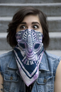DEVOUR-,Xenomorph,inspired,hand,screen,printed,Bandana,or,Furoshiki,facehugger, xenomorph, hr giger, aliens, monsters, scooter gear, motorcycle gear, riding gear, face protection