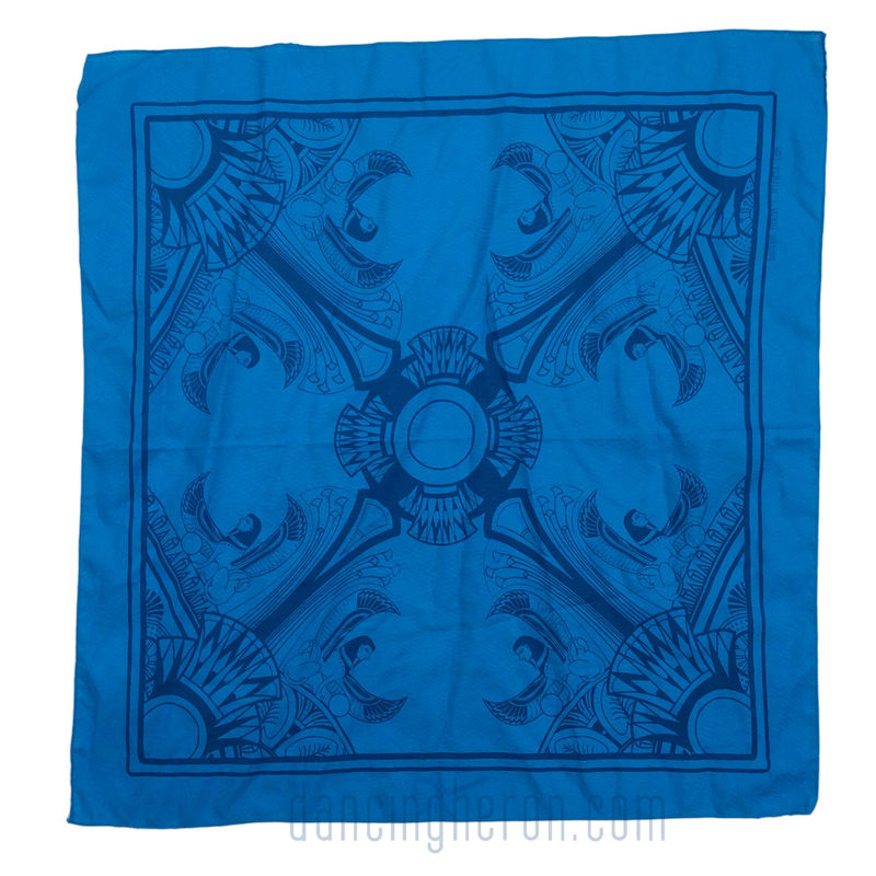 Azure Egyptian- Egyptian Deco Inspired Hand Screen Printed Bandana - product images  of