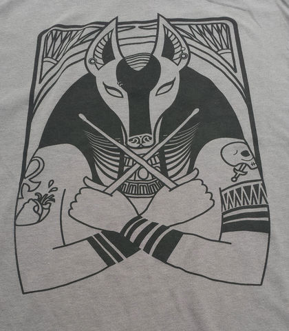 Goth,Drummer,Anubis,-,Hip,Egyptian,Series,Hand,Screened,Shirt,anubis, egyptian god, death god, goth drummer, drummer, jackel, egyptian mythology