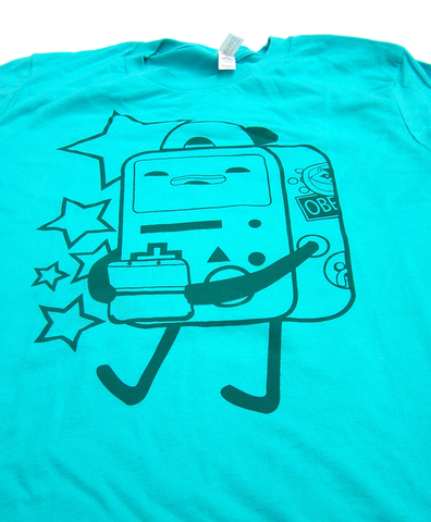 Let's,Play,Video,Games,-,BMO,inspired,hand,screen,printed,shirt,adventure time, BMO, video game boy, 3ds, gameboy, punk kid, pdx stickers