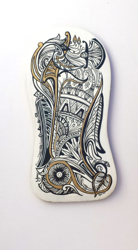 Egyptian Flourish Stele Deck - Hand painted upcycled skate deck - product images
