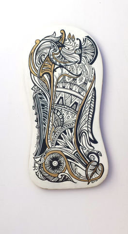 Egyptian,Flourish,Stele,Deck,-,Hand,painted,upcycled,skate,deck,skatedeck, indie design, indie skateboard design