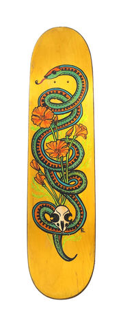 Garter,and,Mouse-,Hand,painted,upcycled,skate,deck,skatedeck, indie design, indie skateboard design