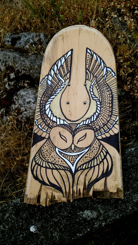 Garter and Mouse- Hand painted upcycled skate deck - product images  of