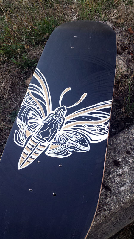 Spot Gloss Moth - Hand painted upcycled skate deck - product images