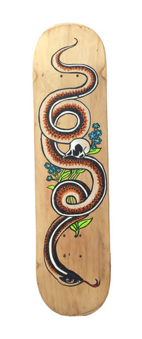 Racer,and,Quail-,Hand,painted,upcycled,skate,deck,skatedeck, indie design, indie skateboard design