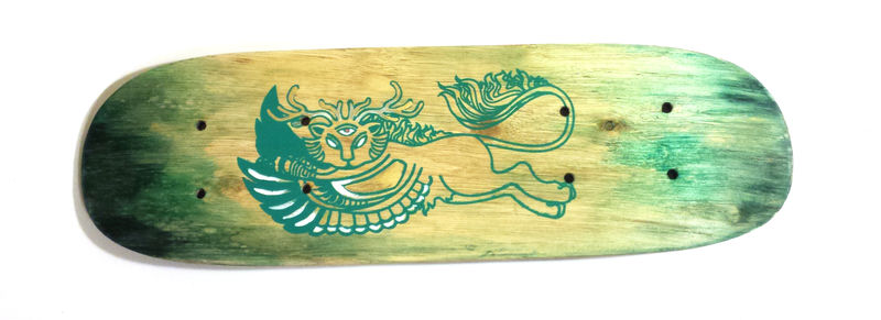 Leaping Chimera - Hand screen printed mini deck - product images  of