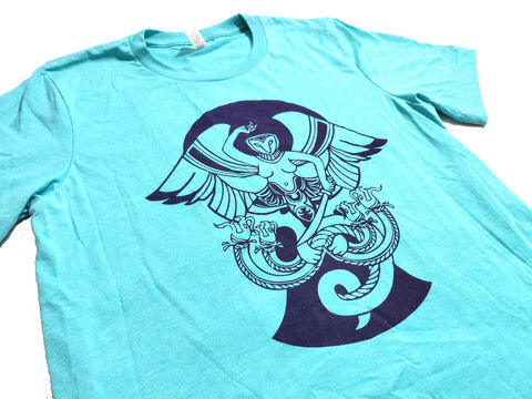 Hydra,Slayer,-,hand,screen,printed,shirt,hydra, harpie, serpent, sword, warrior, owl harpie