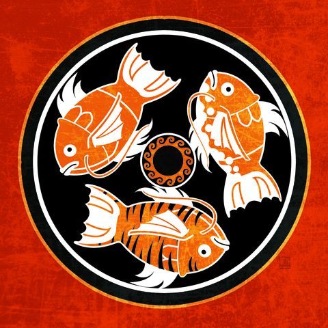 Ancient,Karp,Fish,Dish,-,pokemon,inspired,illustration, poke ball, archaic motif, greek art, geeky art, magikarp, karp