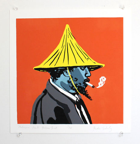 Thelonious,Monk,Hat,Series,-,Yellow,Giclee Print, Thelonious Monk, Jazz Pianist