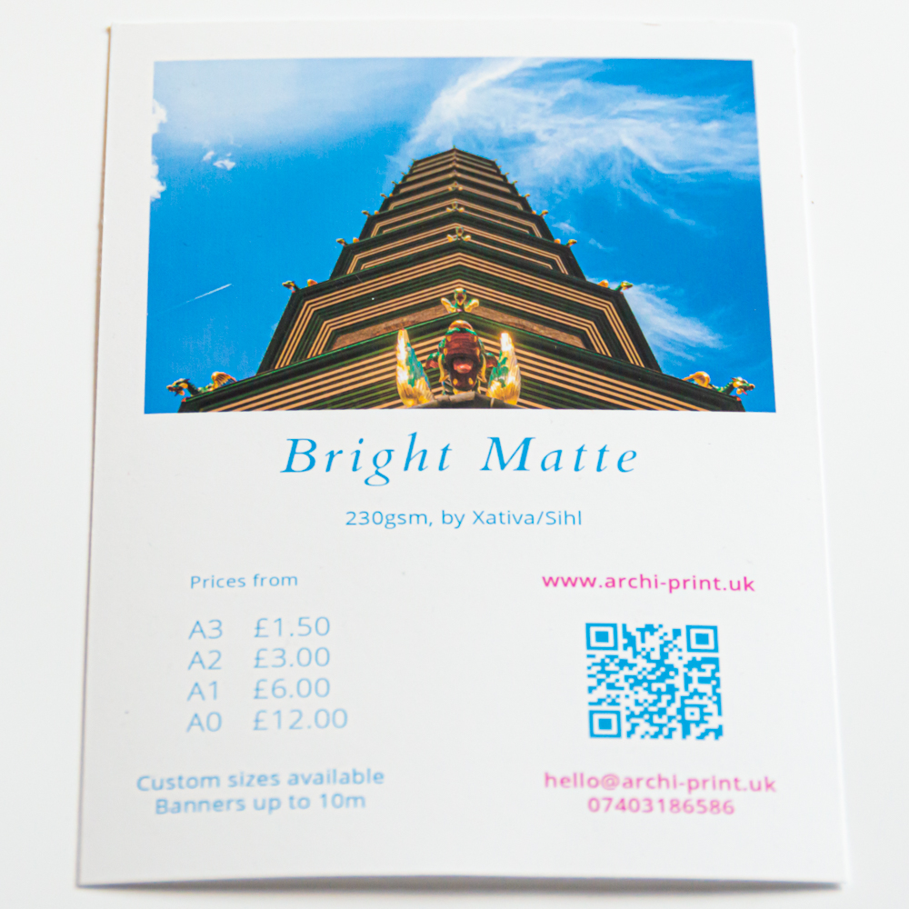 Matte fine art print in London by ArchiPrint UK