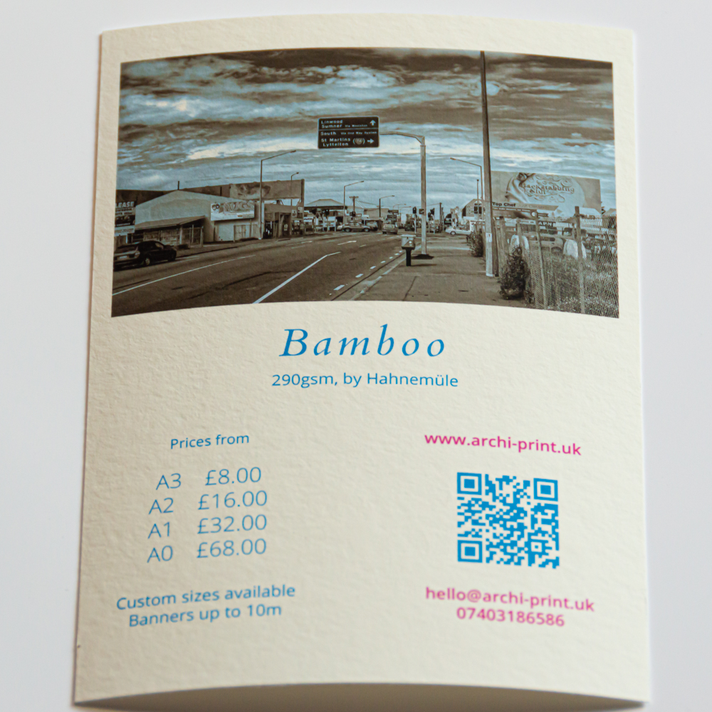 Hahnemuhle Bamboo fine art print in London by ArchiPrint UK