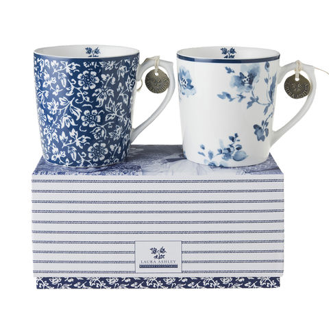 Laura,Ashley,Boxed,Set/2,Mugs,10,oz,Laura-Ashley-Blueprint-Collectables-Tableware-Set-2-Mugs-Gift-boxed