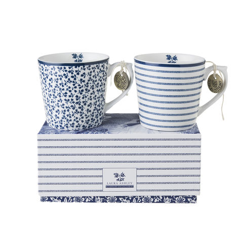 Laura,Ashley,Boxed,Set/2,Mugs,7.5,oz,Laura-Ashley-Blueprint-Collectables-Tableware-Set-2-Mugs-Gift-boxed