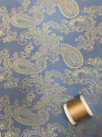 Paisley,Jacquard,Lining,in,Blue,and,Gold,paisley, jacquard, lining, polyester, viscose, sewing, dressmaking, fabric, emporia