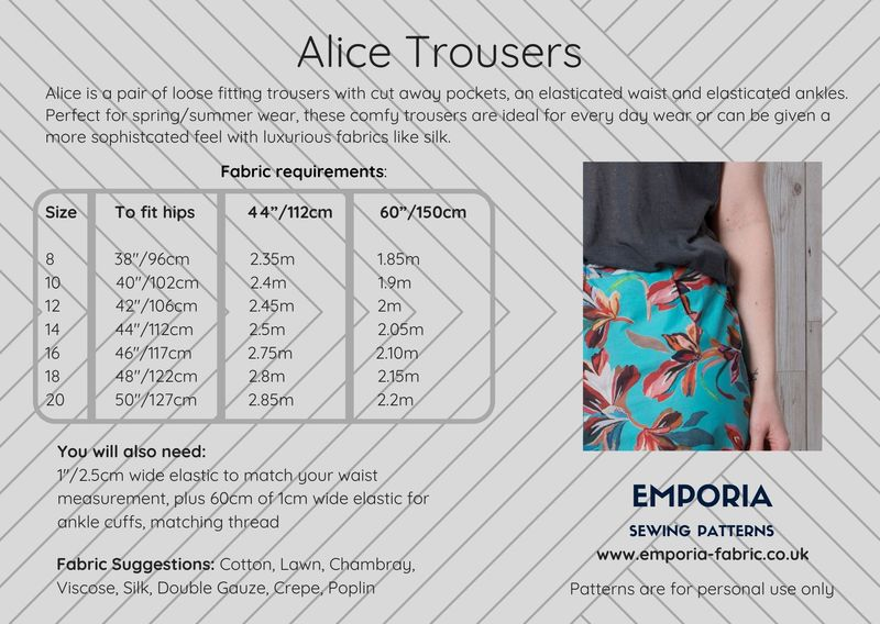 Alice Trousers Pattern - product images  of
