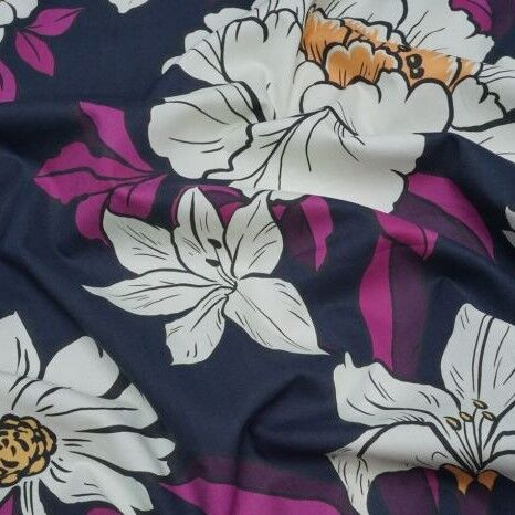 Lady McElroy Cotton Lawn Coleman Bouquet in Navy and Purple - product images