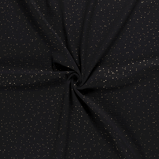 Gold Flecked Double Gauze in Black - product images