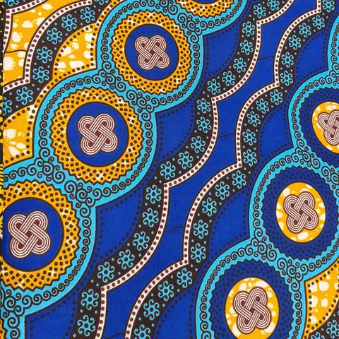 African,Wax,Pattern,in,Blue,and,Mustard,african wax, dutch, wax, cotton, waxed, fabric, mustard, blue, black, emporia