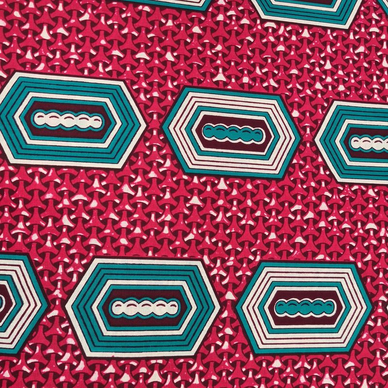 African Wax Teal Shapes on Pink - product images