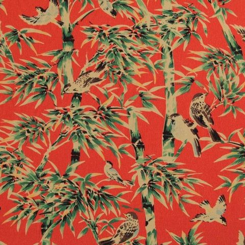 Fabric,Godmother,Tobu,Viscose,Crepe,in,Coral,fabric godmother, tobu, viscose, crepe, coral, red, birds, dress making, sewing, emporia