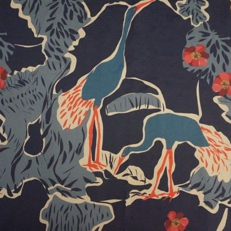 Lady,McElroy,Cotton,Lawn,Crane,Island,in,Blue,and,Red,Lady McElroy, cotton, lawn, crane, island, birds, red, blue, lady, mcelroy, dress making, emporia
